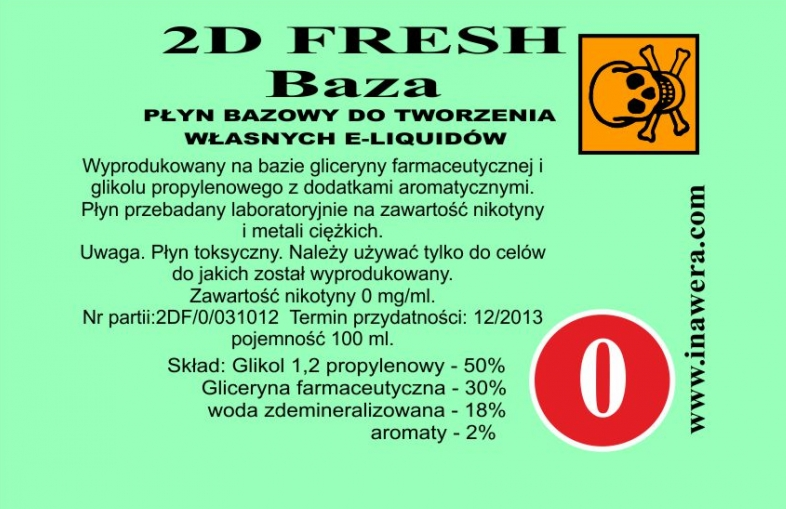 Inawera 2D Fresh Mint Base - nicotine 0 mg/ml 100 ml