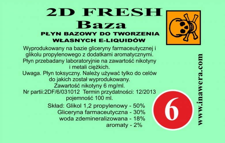 Inawera 2D Fresh Mint Base - nicotine 6 mg/ml 100 ml