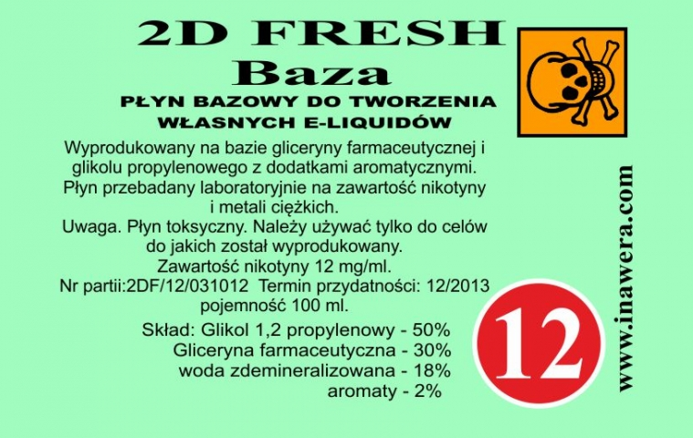 Inawera 2D Fresh Mint Base - nicotine 12 mg/ml 100 ml