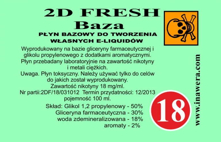 Inawera 2D Fresh Mint Base - nicotine 18 mg/ml 100 ml