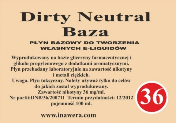 Inawera - Dirty Neutral Base - nicotine 36 mg/ml 100 ml
