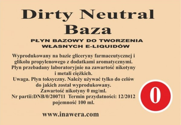 Inawera - Dirty Neutral Base - nicotine 0 mg/ml 100 ml