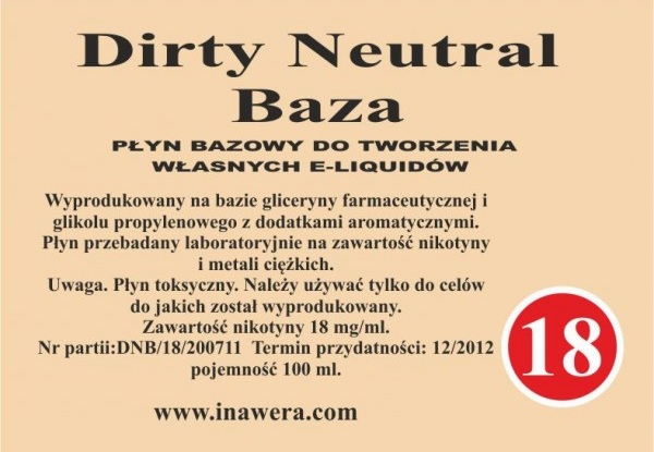 Inawera - Dirty Neutral Base - nicotine 18 mg/ml 100 ml