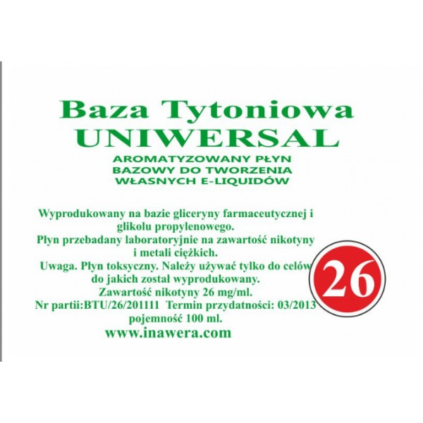 Inawera Universal base - nicotine 26 mg/ml 100 ml