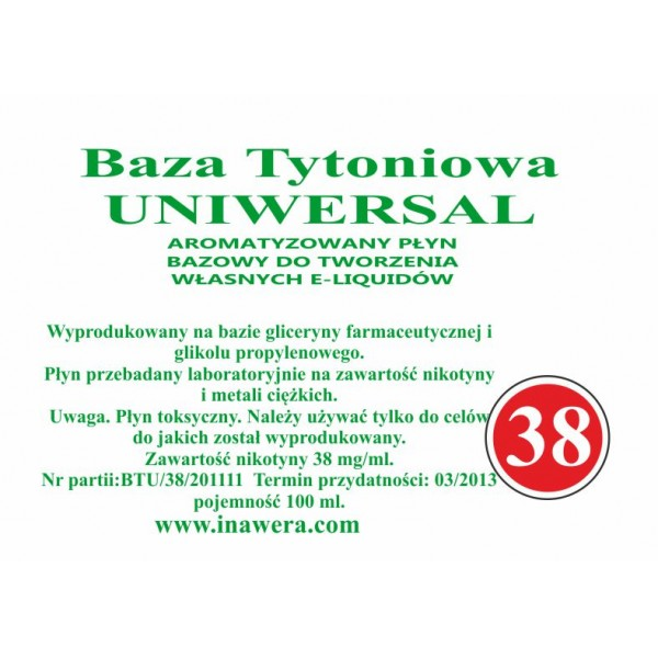 Inawera Universal base - nicotine 38 mg/ml 100 ml