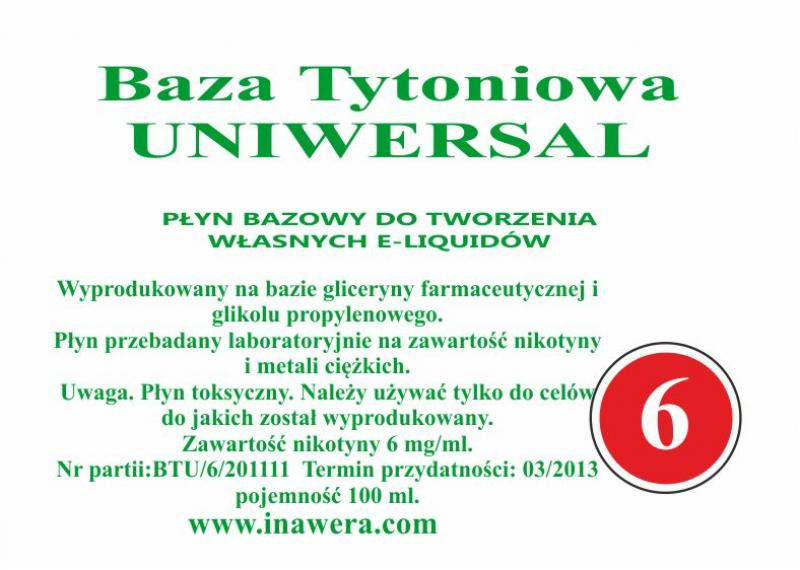 Inawera Universal base - nicotine 6 mg/ml 100 ml