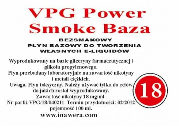 Inawera - VPG Smoke Power Base - nicotine 18 mg/ml 100 ml