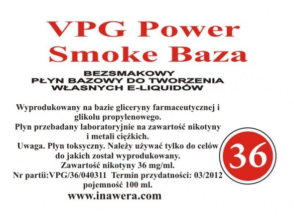 Inawera - VPG Smoke Power Base - nicotine 36 mg/ml 100 ml