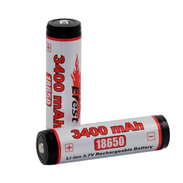 Efest 18650 protected rechargeable li-ion battery 3400mAh with PCB and button top