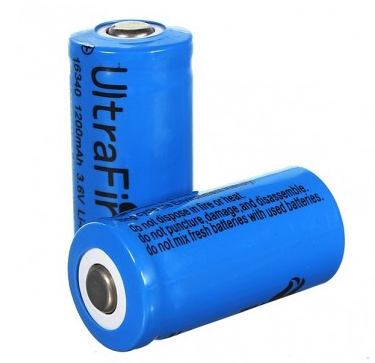 UltraFire battery 16340 1200mAh 3.6V Li-ion with button top