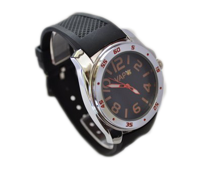 Vapo watch black quadrant and orange writing
