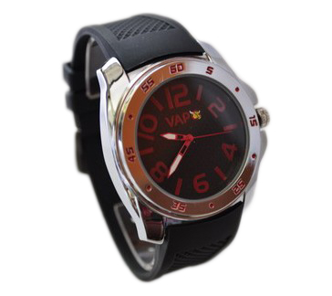 Vapo watch black quadrant and red writing