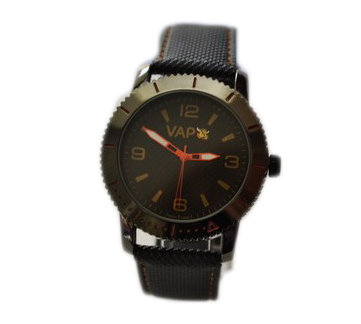 Vapo watch black quadrant and yellow writing