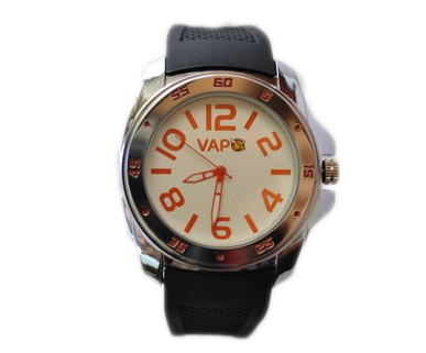 Vapo watch white quadrant and orange writing