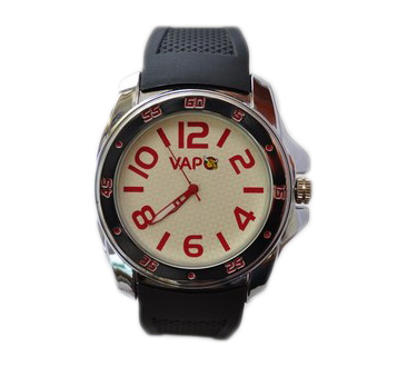 Vapo watch white quadrant and red writing