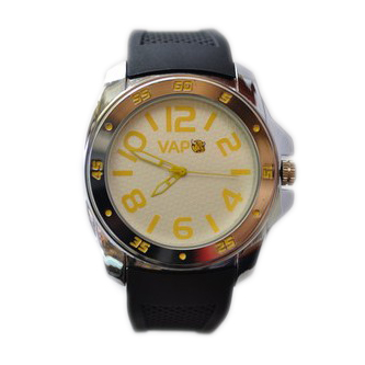 Vapo watch white quadrant and yellow writing